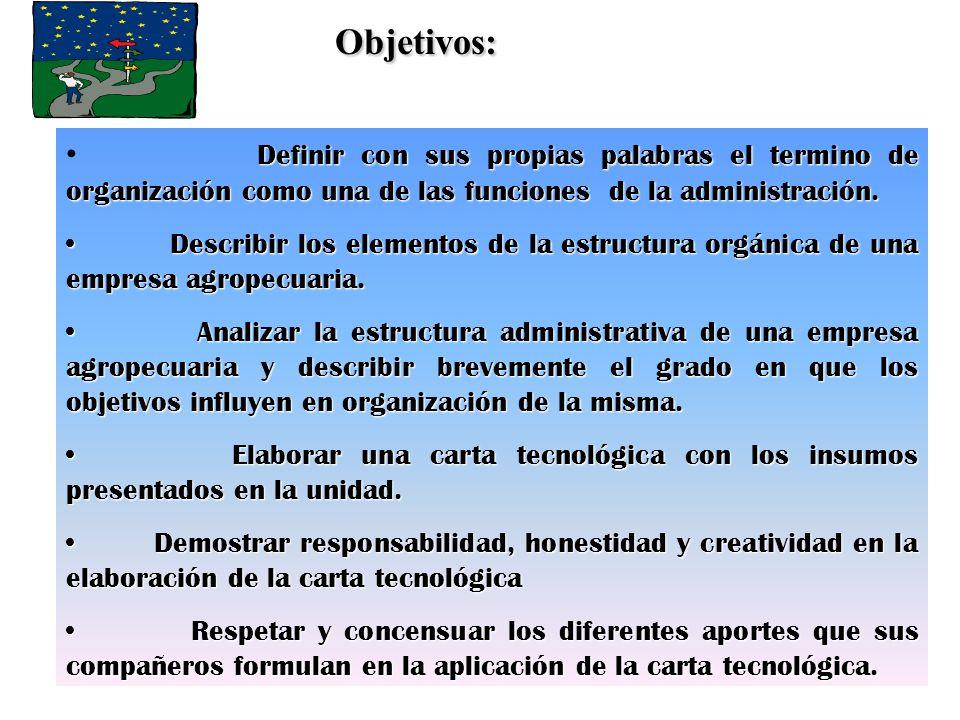Objetivos: Definir con sus propias palabras el termino de organización como una de las funciones de la administración.
