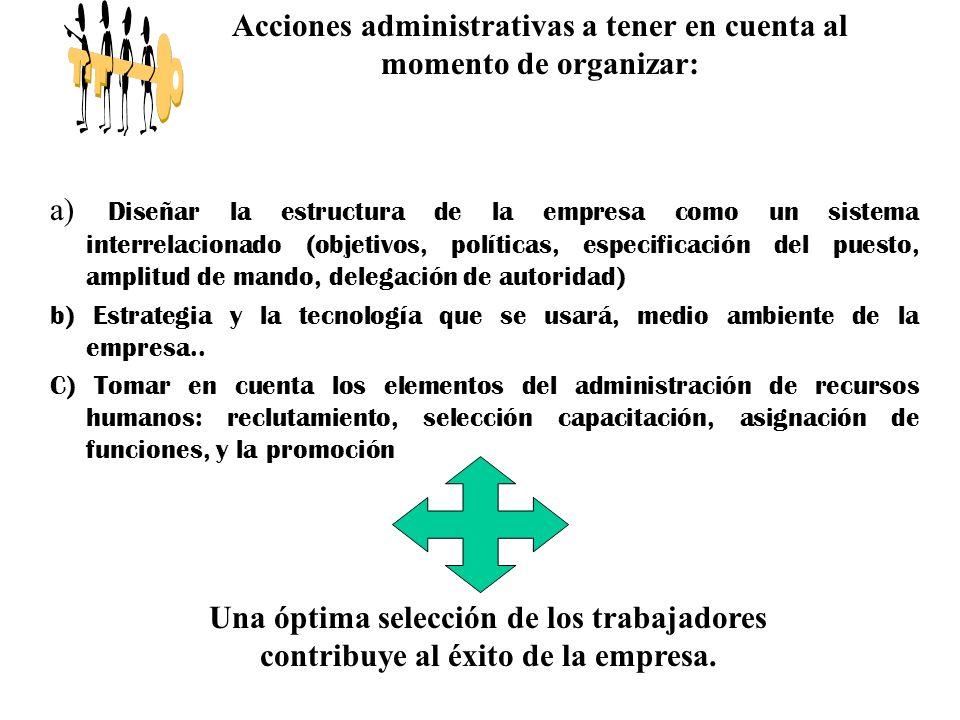 Acciones administrativas a tener en cuenta al momento de organizar: