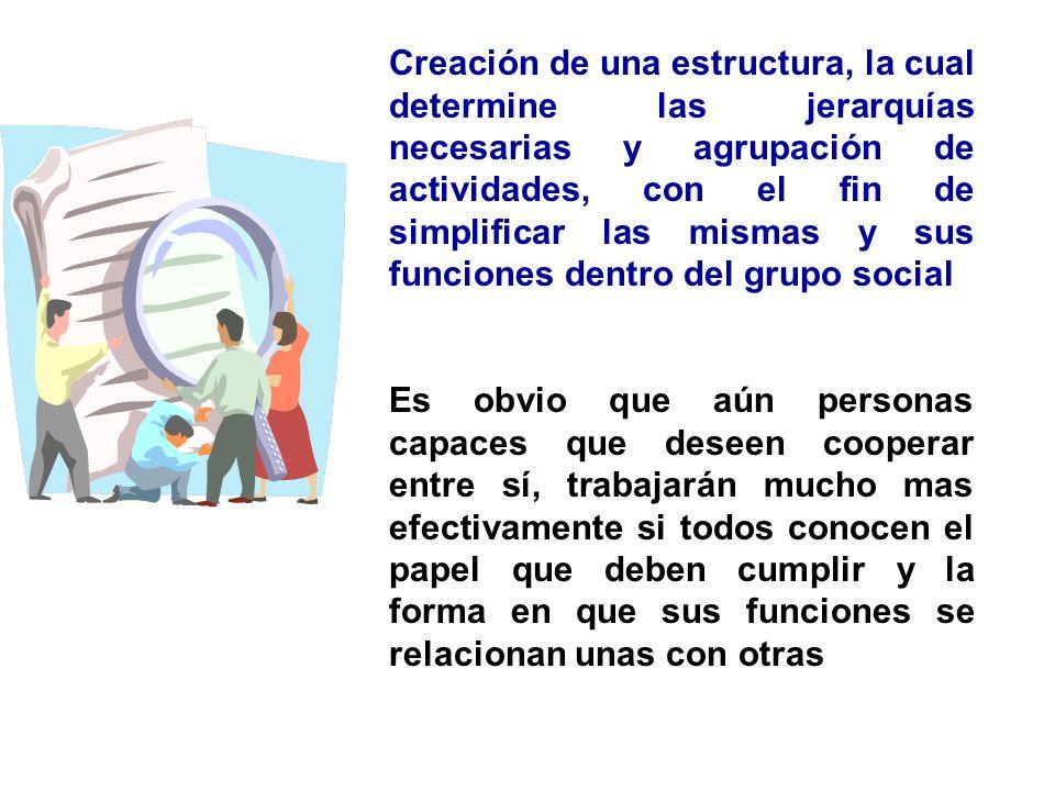 Creación de una estructura, la cual determine las jerarquías necesarias y agrupación de actividades, con el fin de simplificar las mismas y sus funciones dentro del grupo social