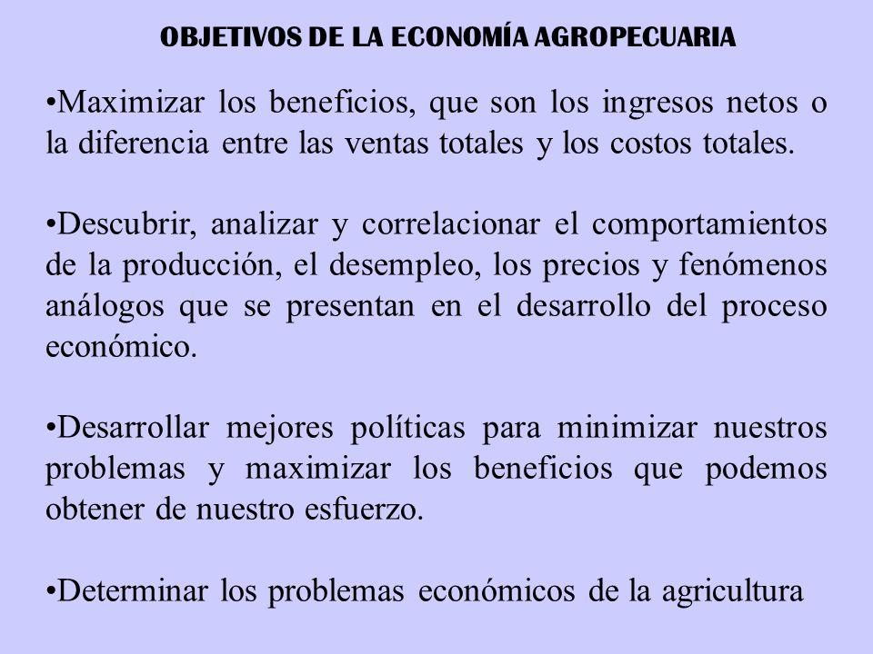 OBJETIVOS DE LA ECONOMÍA AGROPECUARIA