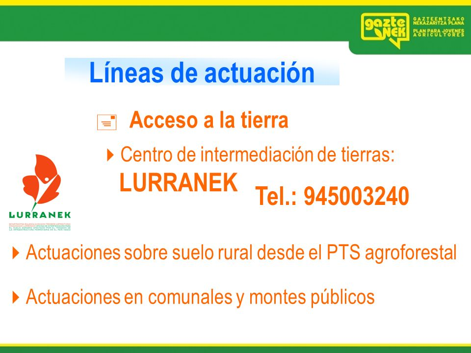 Líneas de actuación Tel.: 945003240 Acceso a la tierra