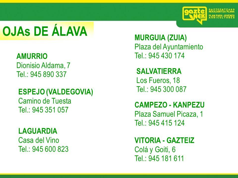 OJAs DE ÁLAVA MURGUIA (ZUIA) Plaza del Ayuntamiento Tel.: 945 430 174