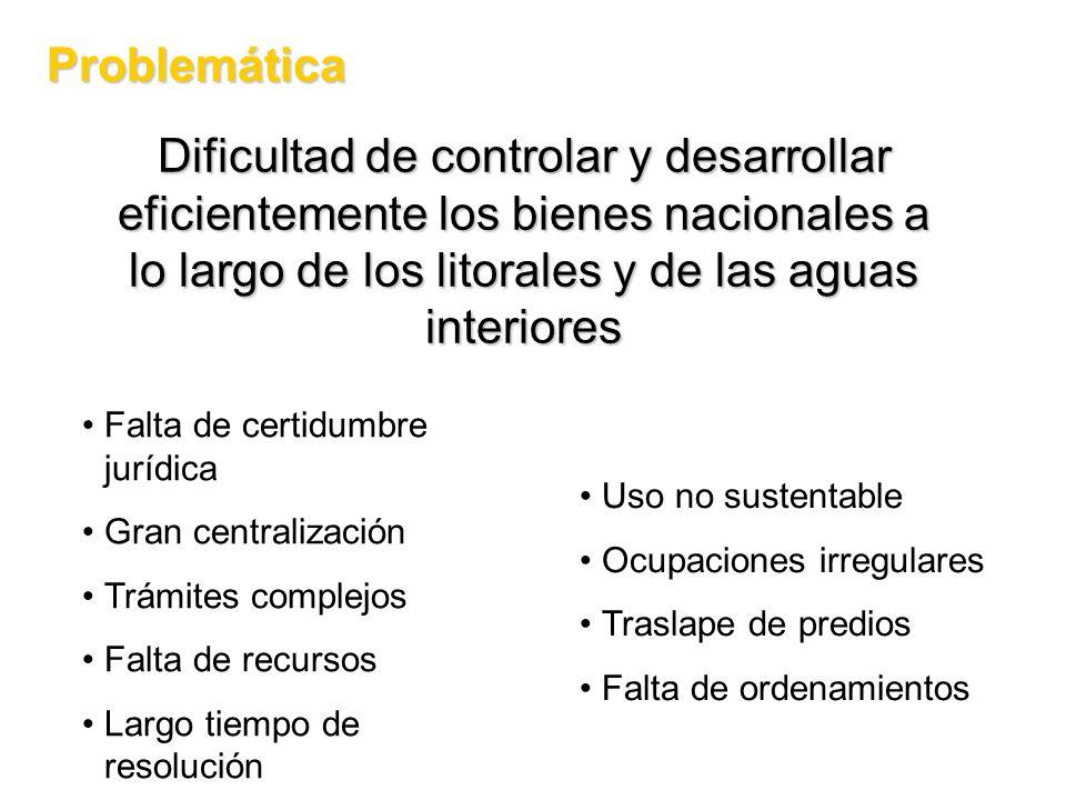 Problemática Dificultad de controlar y desarrollar eficientemente los bienes nacionales a lo largo de los litorales y de las aguas interiores.