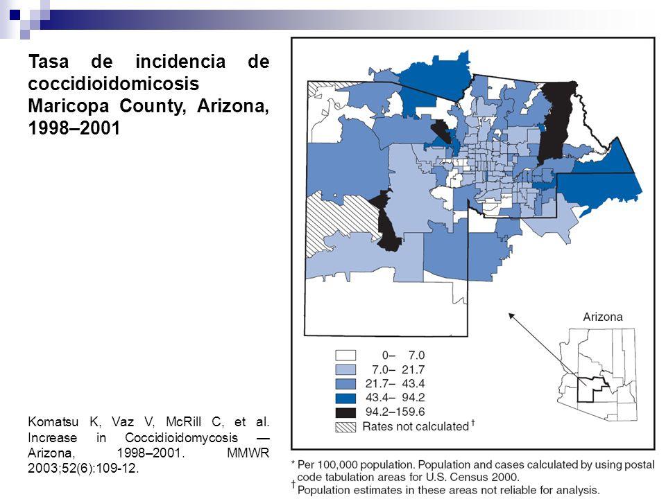 Tasa de incidencia de coccidioidomicosis Maricopa County, Arizona, 1998–2001