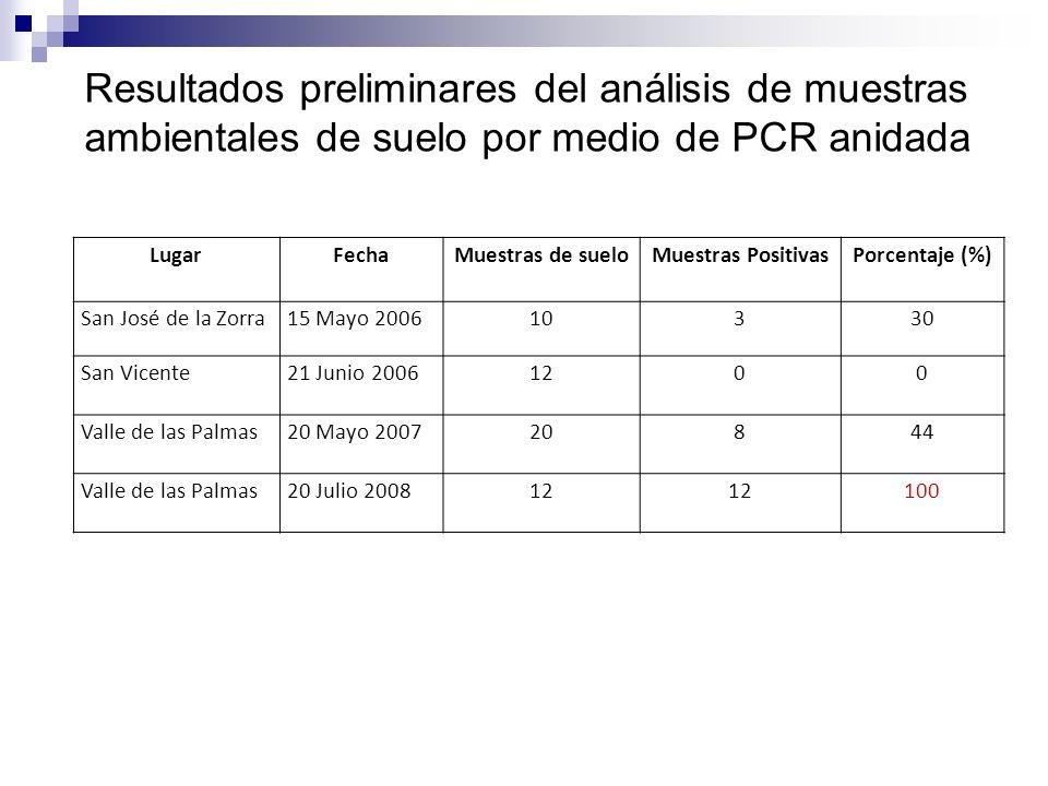 Resultados preliminares del análisis de muestras ambientales de suelo por medio de PCR anidada