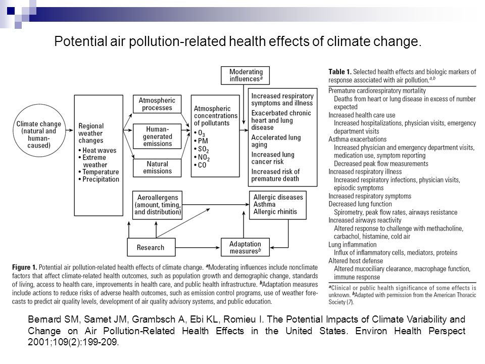 Potential air pollution-related health effects of climate change.