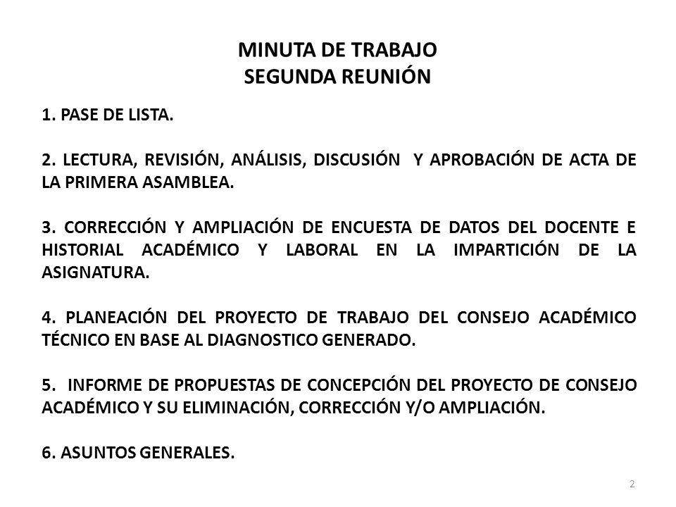 MINUTA DE TRABAJO SEGUNDA REUNIÓN