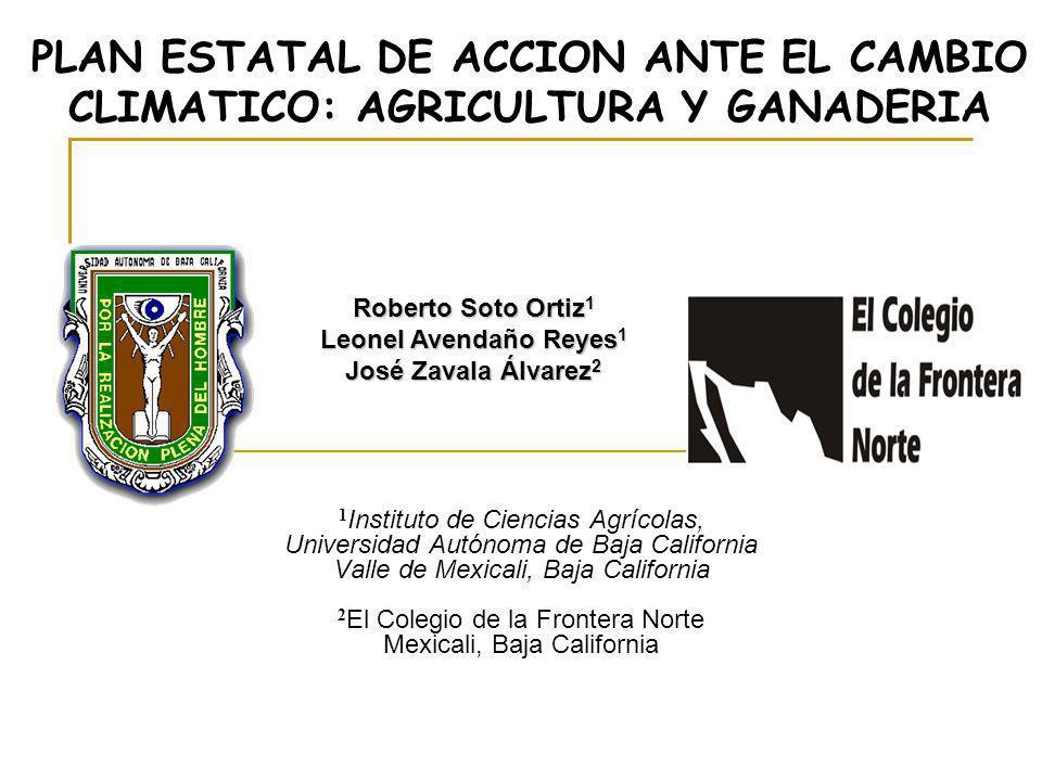 PLAN ESTATAL DE ACCION ANTE EL CAMBIO CLIMATICO: AGRICULTURA Y GANADERIA