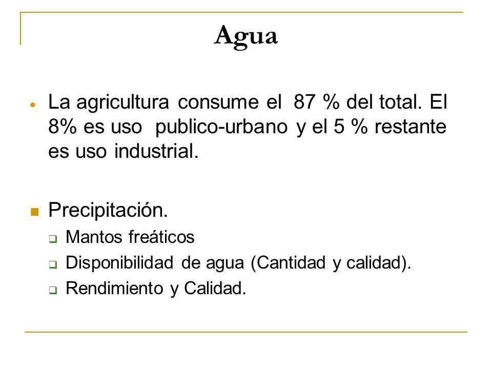 AguaLa agricultura consume el 87 % del total. El 8% es uso publico-urbano y el 5 % restante es uso industrial.