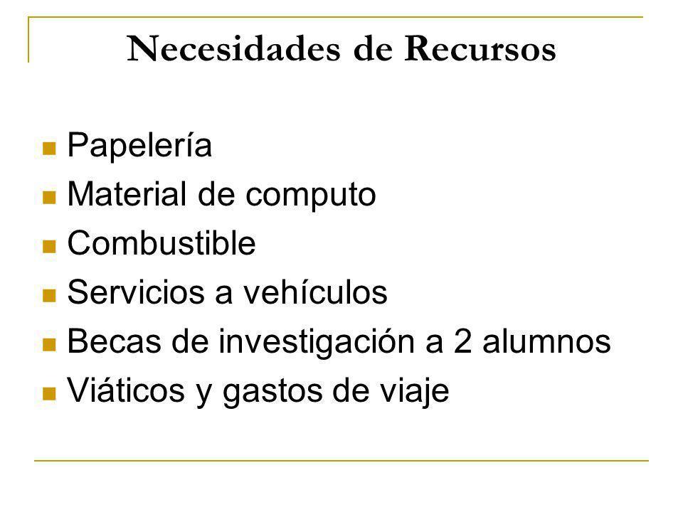 Necesidades de Recursos