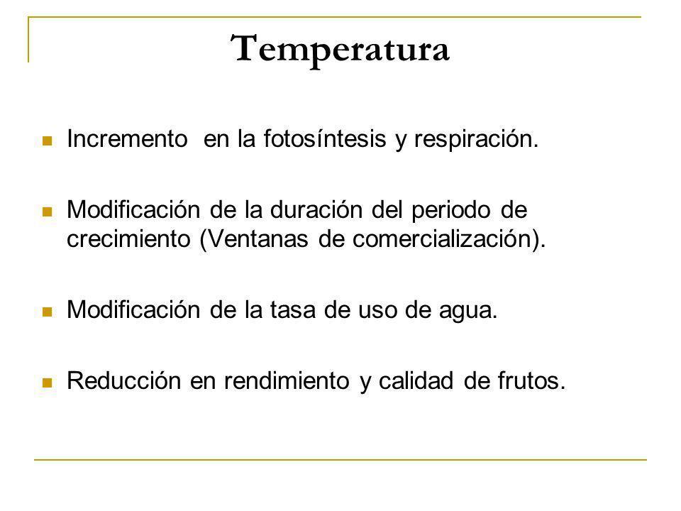 Temperatura Incremento en la fotosíntesis y respiración.