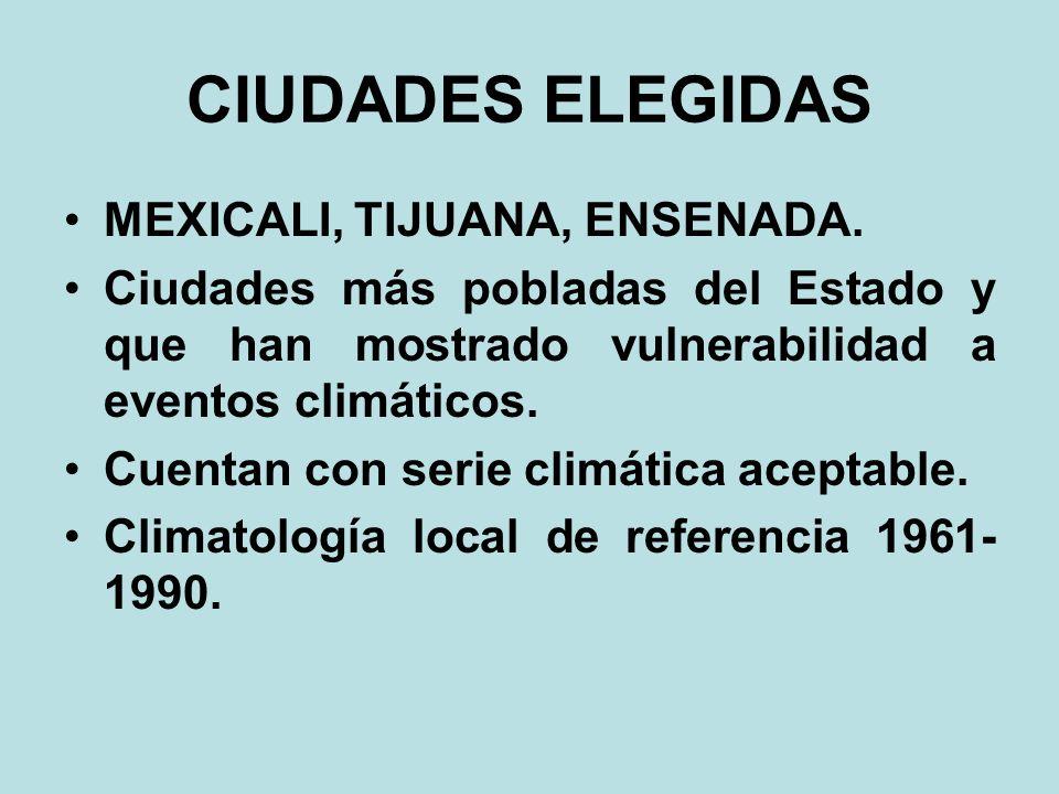CIUDADES ELEGIDAS MEXICALI, TIJUANA, ENSENADA.
