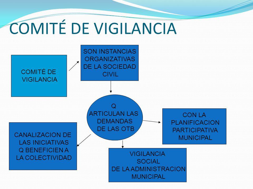 COMITÉ DE VIGILANCIA SON INSTANCIAS ORGANIZATIVAS DE LA SOCIEDAD CIVIL