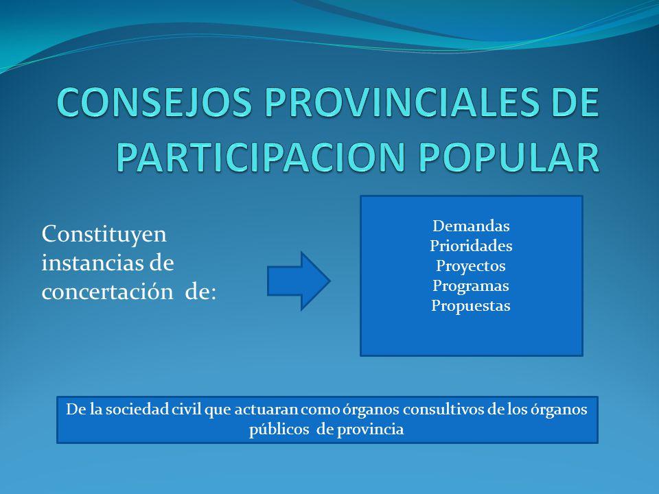 CONSEJOS PROVINCIALES DE PARTICIPACION POPULAR