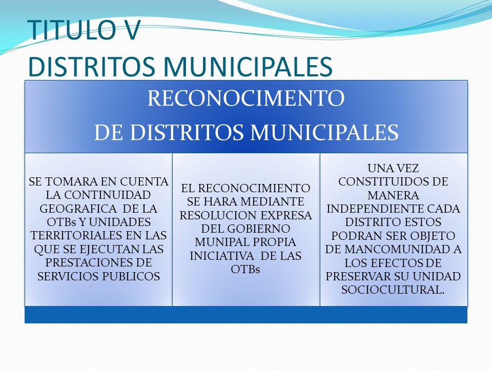 TITULO V DISTRITOS MUNICIPALES