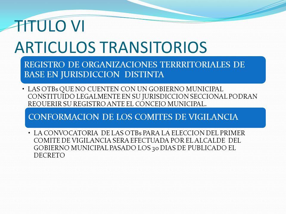 TITULO VI ARTICULOS TRANSITORIOS