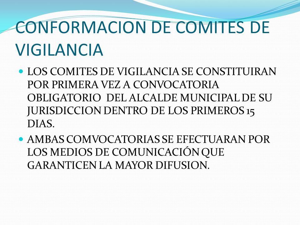CONFORMACION DE COMITES DE VIGILANCIA