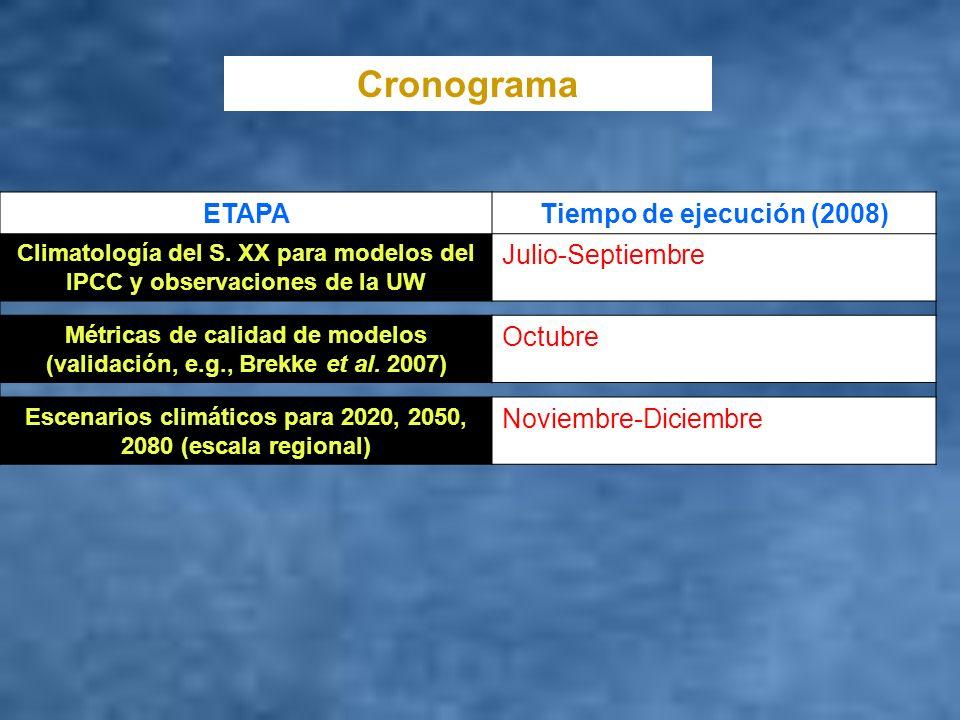 Cronograma ETAPA Tiempo de ejecución (2008) Julio-Septiembre Octubre