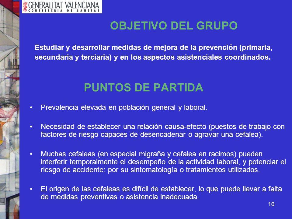 PUNTOS DE PARTIDA OBJETIVO DEL GRUPO