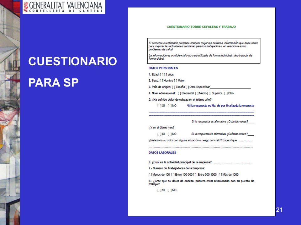 CUESTIONARIO PARA SP