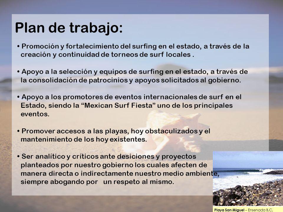 Plan de trabajo:Promoción y fortalecimiento del surfing en el estado, a través de la. creación y continuidad de torneos de surf locales .