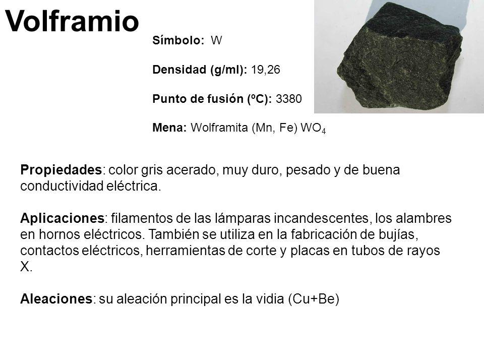 Volframio Símbolo: W. Densidad (g/ml): 19,26. Punto de fusión (ºC): 3380. Mena: Wolframita (Mn, Fe) WO4.