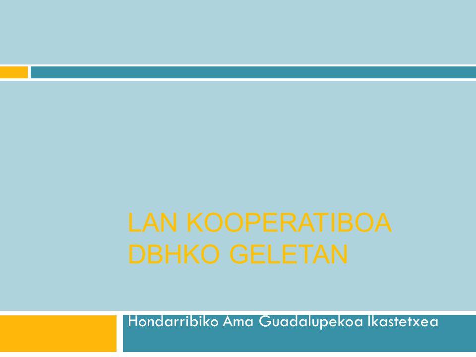 LAN KOOPERATIBOA DBHKO GELETAN