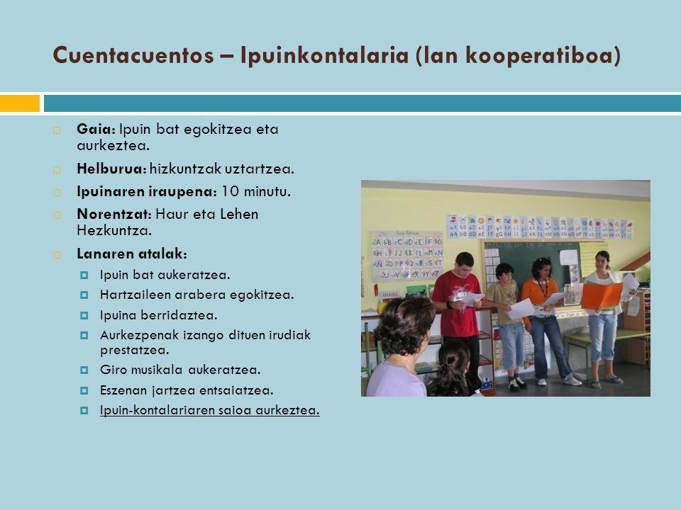 Cuentacuentos – Ipuinkontalaria (lan kooperatiboa)