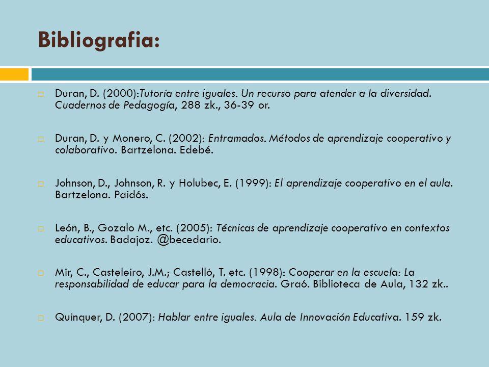 Bibliografia:Duran, D. (2000):Tutoría entre iguales. Un recurso para atender a la diversidad. Cuadernos de Pedagogía, 288 zk., 36-39 or.