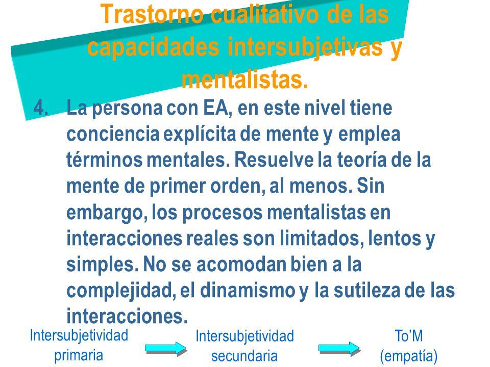 Trastorno cualitativo de las capacidades intersubjetivas y mentalistas.