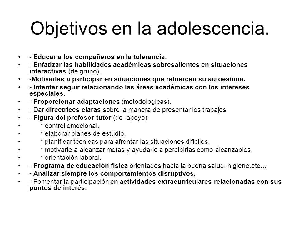 Objetivos en la adolescencia.
