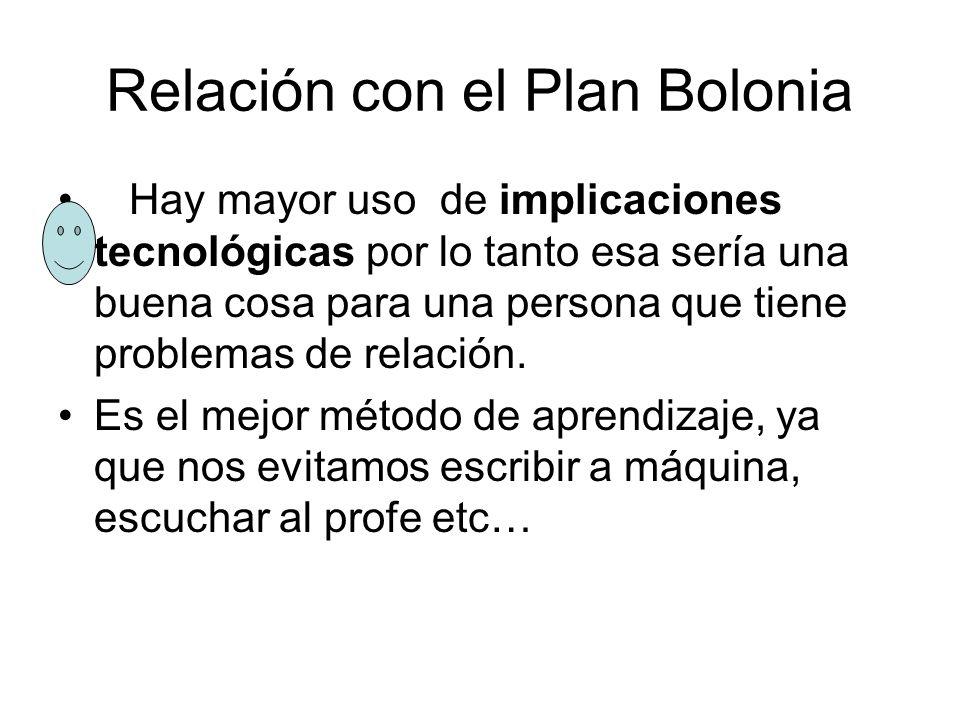 Relación con el Plan Bolonia
