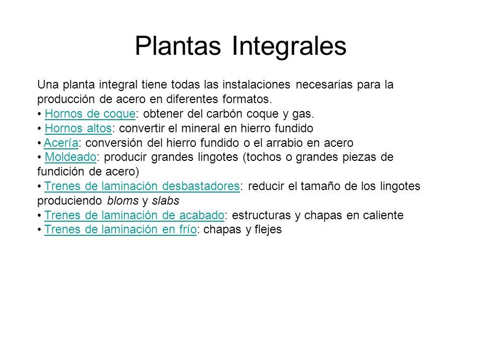 Plantas Integrales Una planta integral tiene todas las instalaciones necesarias para la producción de acero en diferentes formatos.