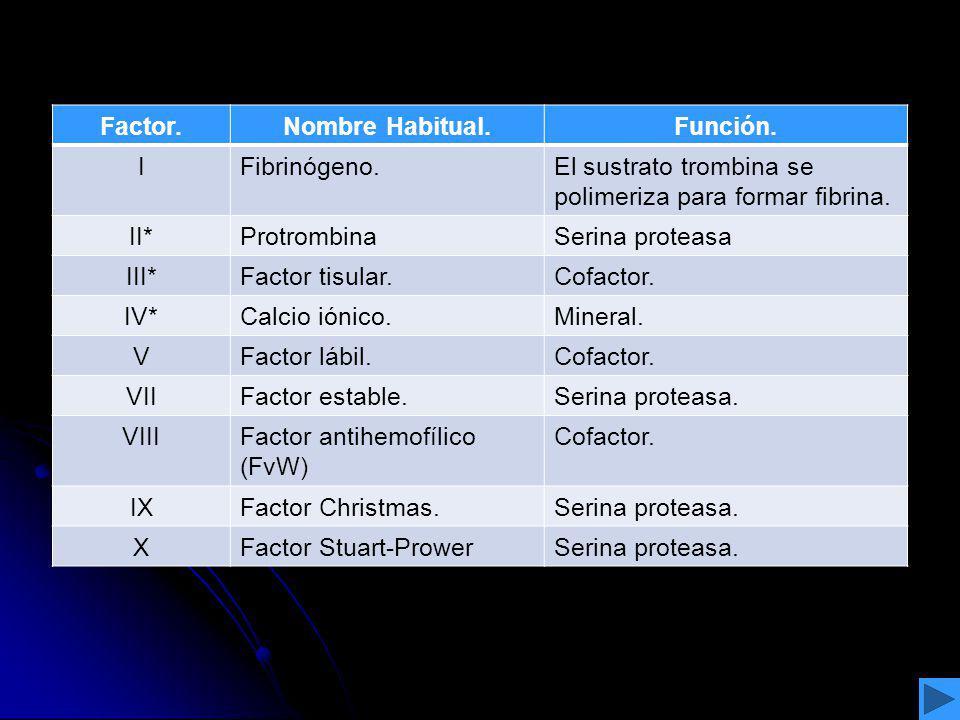 Factor. Nombre Habitual. Función. I. Fibrinógeno. El sustrato trombina se polimeriza para formar fibrina.