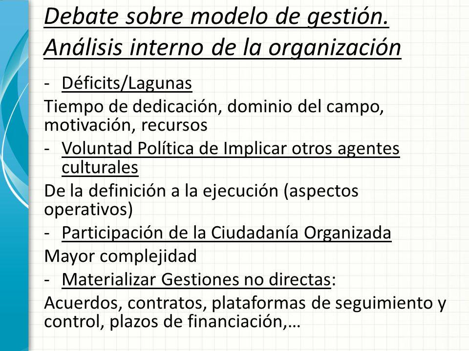 Debate sobre modelo de gestión. Análisis interno de la organización