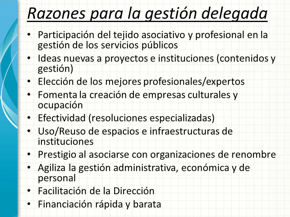 Razones para la gestión delegada