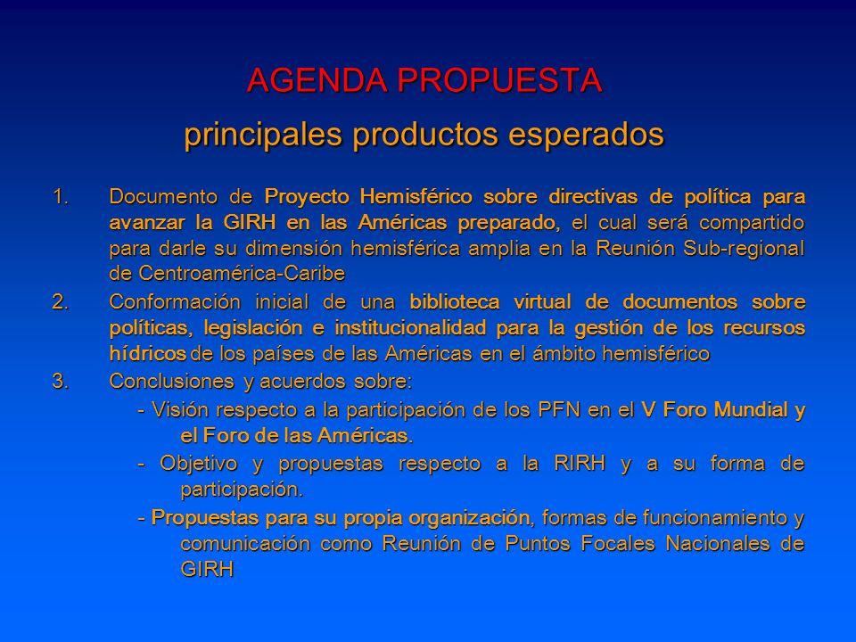 AGENDA PROPUESTA principales productos esperados