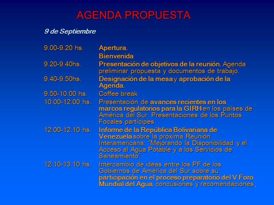 AGENDA PROPUESTA 9 de Septiembre 9.00-9.20 hs. Apertura. Bienvenida