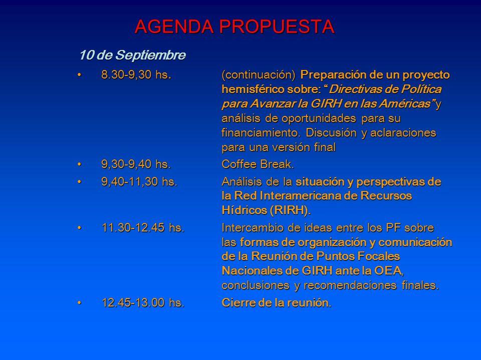 AGENDA PROPUESTA 10 de Septiembre