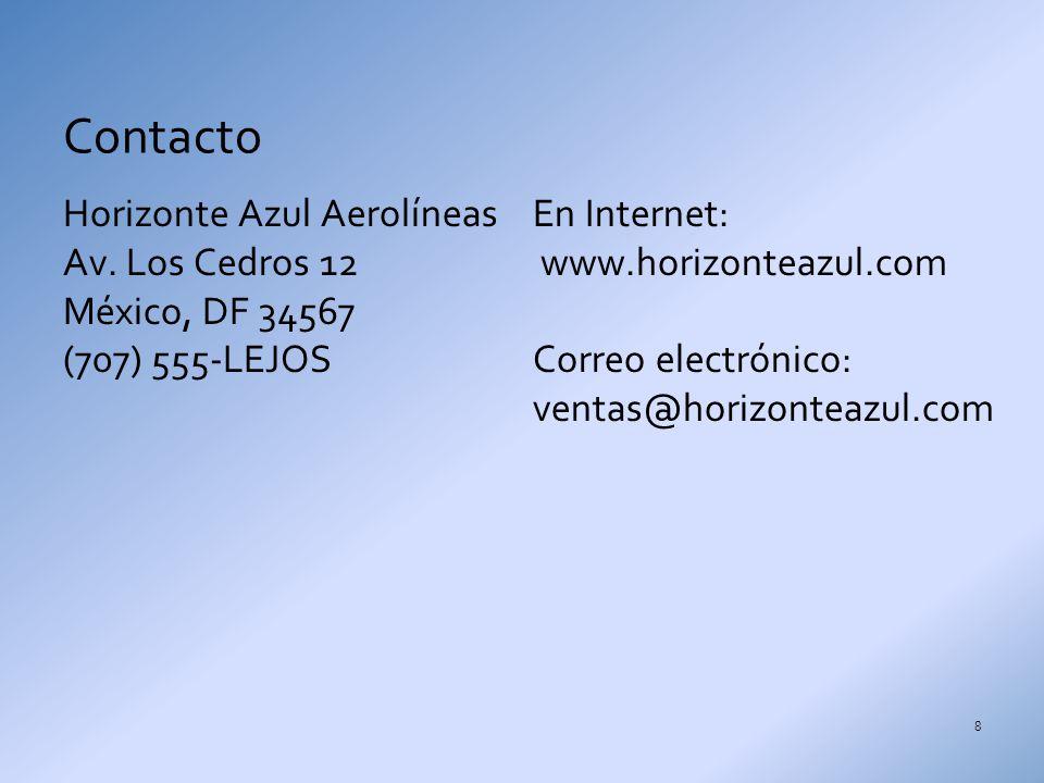 Contacto Horizonte Azul Aerolíneas Av. Los Cedros 12 México, DF 34567