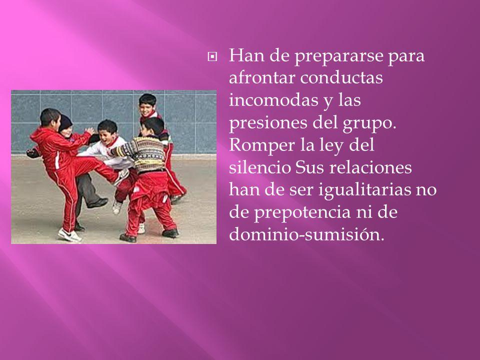 Han de prepararse para afrontar conductas incomodas y las presiones del grupo.