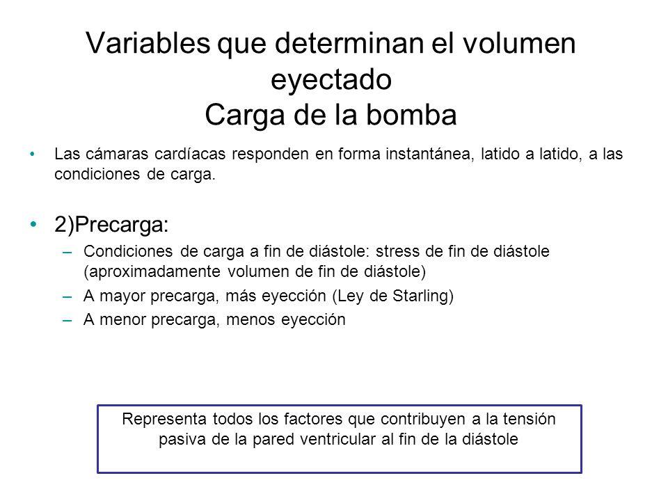 Variables que determinan el volumen eyectado Carga de la bomba