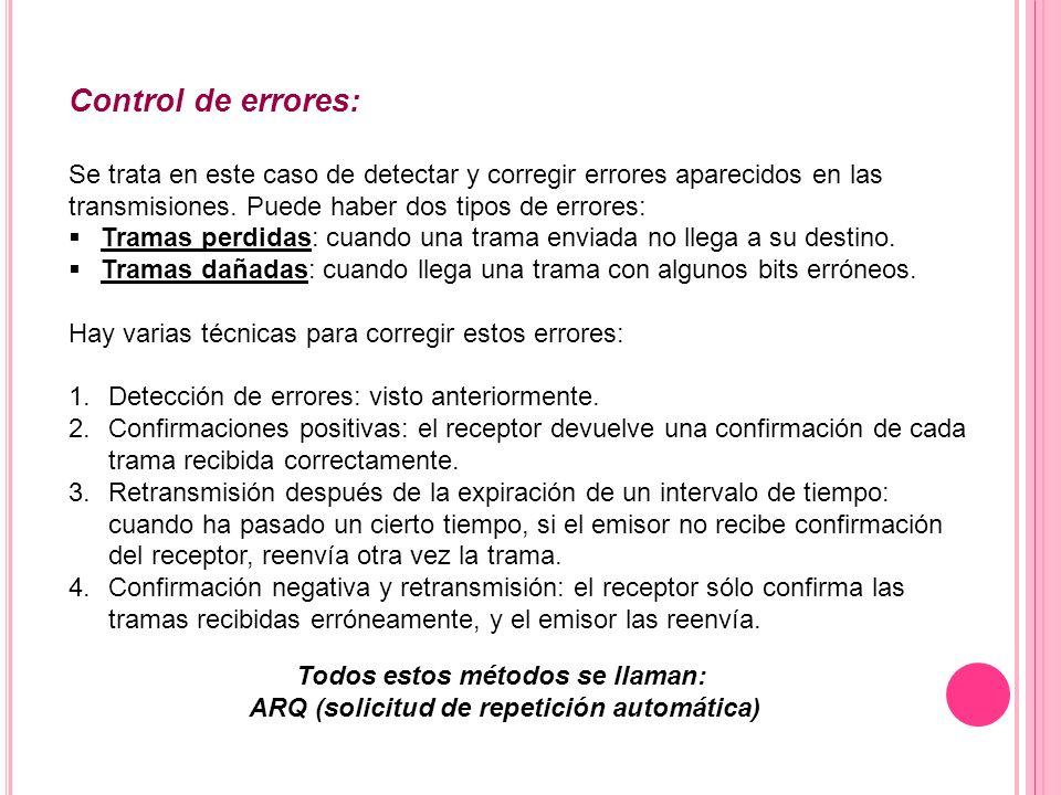 Control de errores: Se trata en este caso de detectar y corregir errores aparecidos en las transmisiones. Puede haber dos tipos de errores: