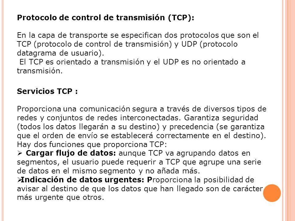 Protocolo de control de transmisión (TCP):
