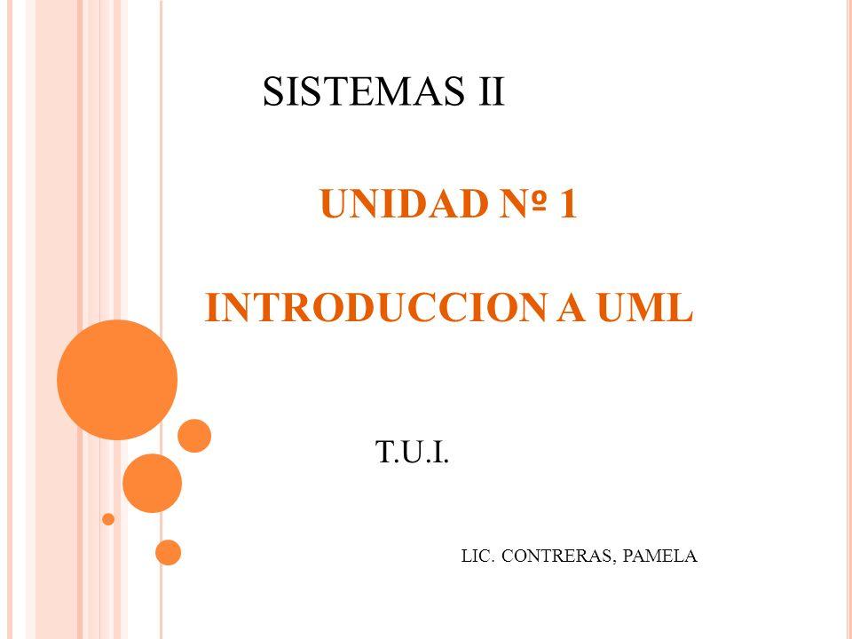 SISTEMAS II UNIDAD Nº 1 INTRODUCCION A UML T.U.I.