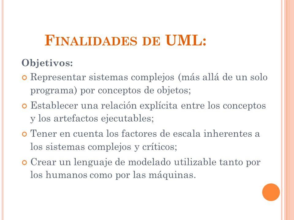 Finalidades de UML: Objetivos: