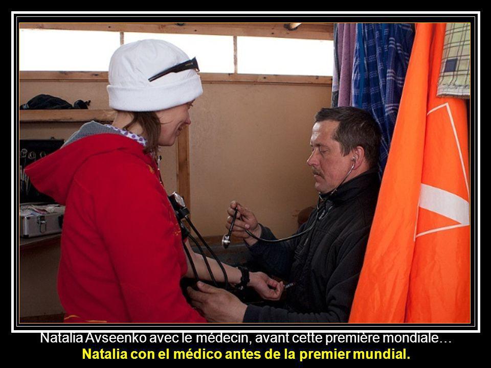 Natalia con el médico antes de la premier mundial.