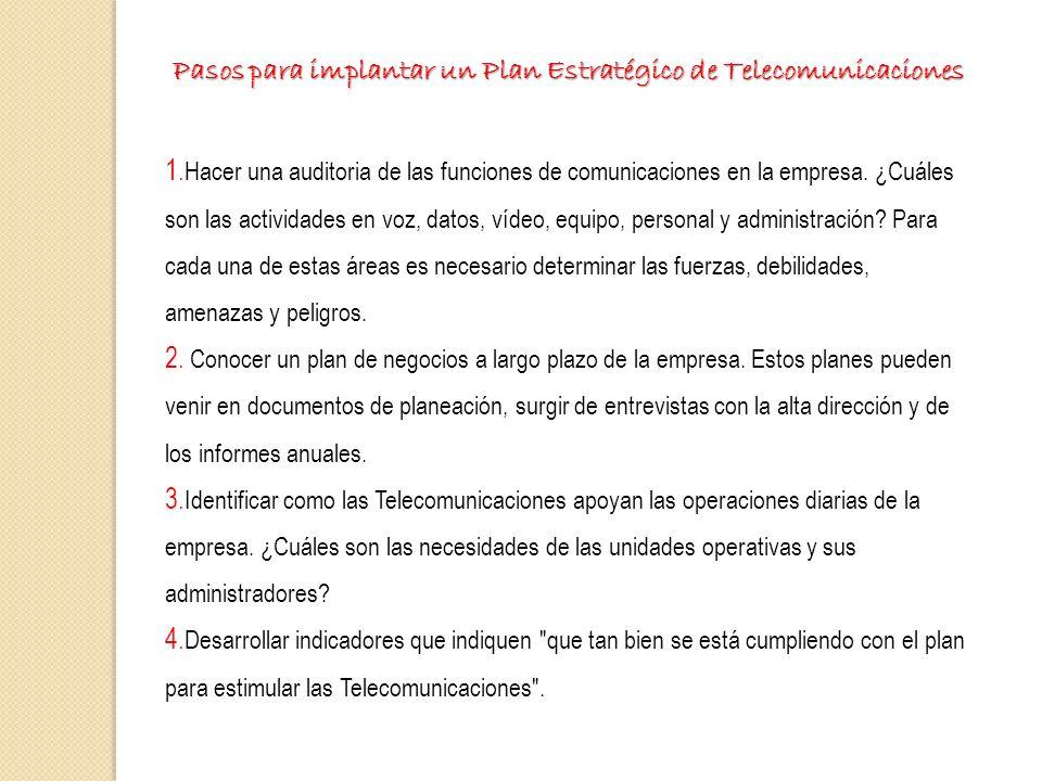 Pasos para implantar un Plan Estratégico de Telecomunicaciones