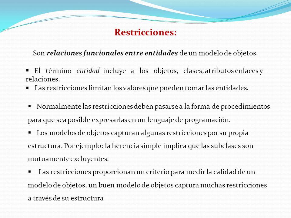 Son relaciones funcionales entre entidades de un modelo de objetos.