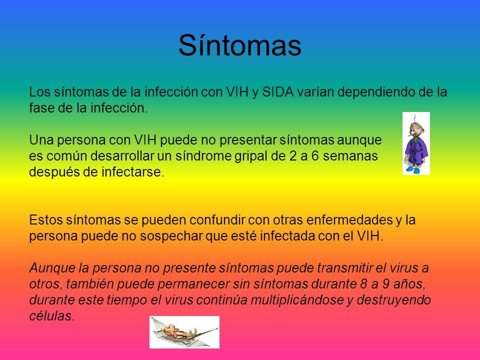 Síntomas Los síntomas de la infección con VIH y SIDA varían dependiendo de la. fase de la infección.